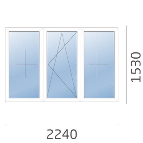 окно трехстворчатое 2240x1530 в 504 серию