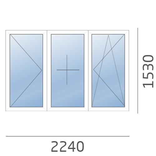 окно трехстворчатое в 504 серию