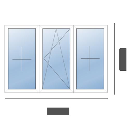 окно трехстворчатое рехау