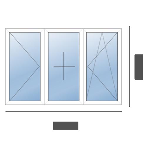 окно трехстворчатое в 606 серию
