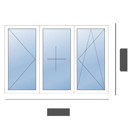окно трехстворчатое в 606 серию Рехау (1700х1400)