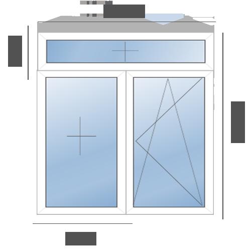 окно двустворчатое в сталинку T-образное