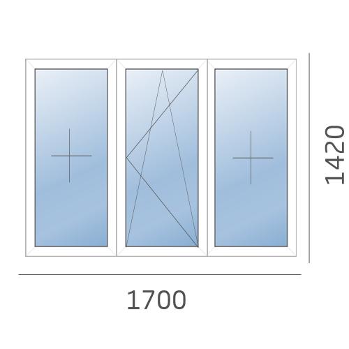 окно трехстворчатое в 600 серию 1700x1420
