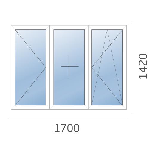 окно трехтворчатое