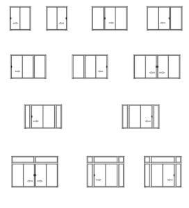 Варианты открывания раздвижных конструкций